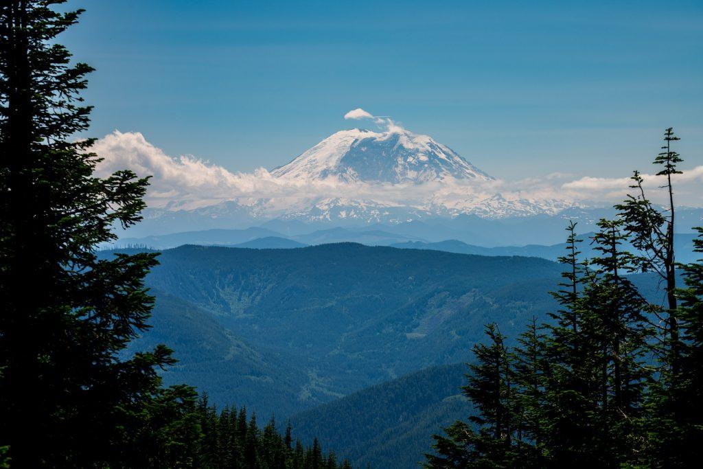 Mount Ranier from the summit of Mount Washington trail