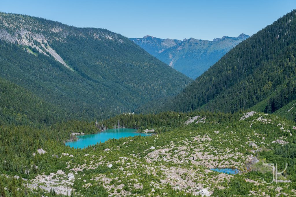 View of the lake from the Emmons Moraine trail ridge