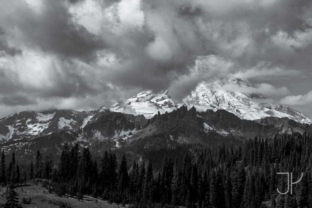 Mount Ranier hides behind early morning clouds