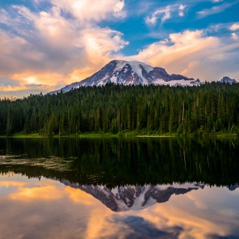 Glorious day for reflections at Reflection Lake, Mt. Rainier