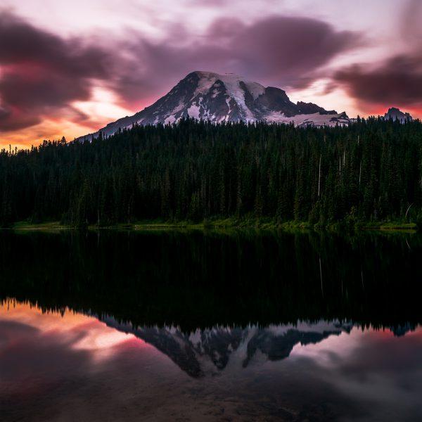 Fiery Rainier Sunset